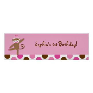 Girl Sock Monkey Birthday Banner Sign
