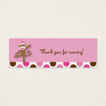 Girl Sock Monkey Birthday Goodie Bag Tags