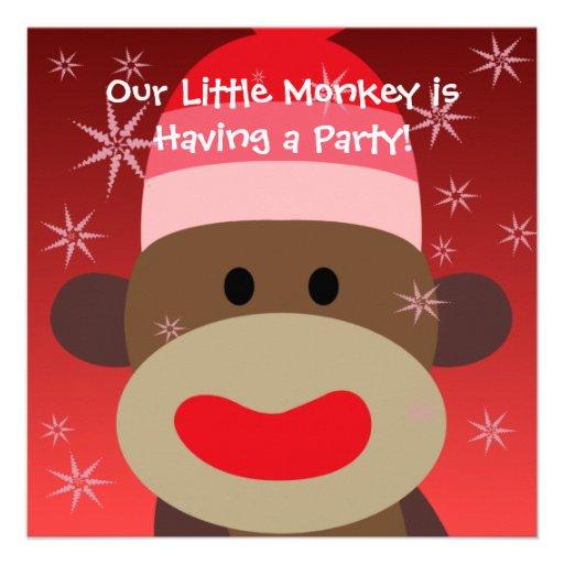 Girl Sock Monkey Birthday Invitation