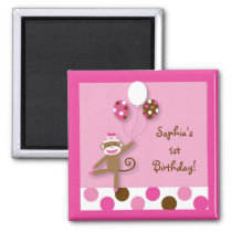 Girl Sock Monkey Birthday Party Favor Magnets