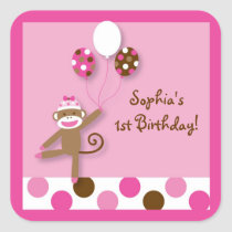 Girl Sock Monkey Birthday Stickers Envelope Seals