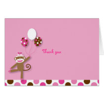 Girl Sock Monkey Birthday Thank You Note Cards
