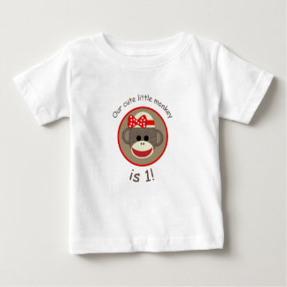 Girl Sock Monkey first birthday shirt red & brown