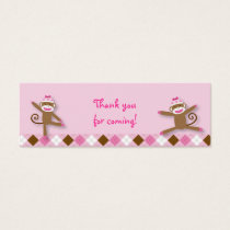 Girl Sock Monkey Goodie Bag Tags