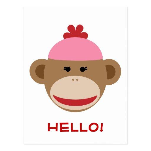 girl sock monkey hello postcard