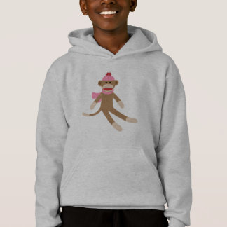 girl sock monkey hoodie sweatshirt grey/gray