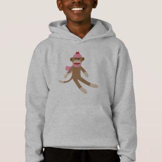 girl sock monkey hoodie sweatshirt grey/gray