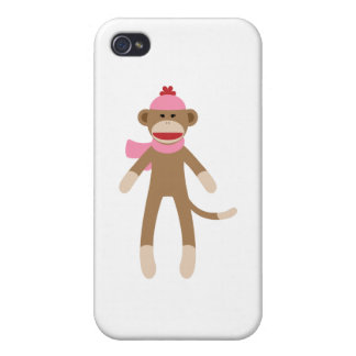 girl sock monkey case for iPhone 4