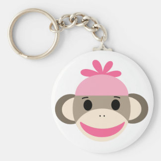 girl sock monkey keychain