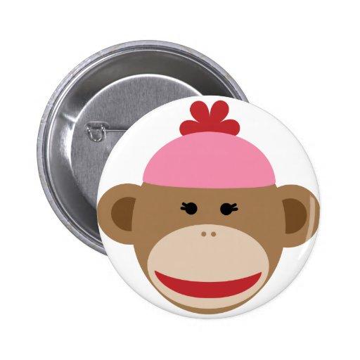 girl sock monkey pinback buttons