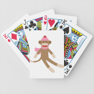 girl sock monkey bicycle playing cards