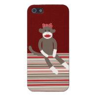 Girl Sock Monkey Red Tan Striped iPhone 5 Case