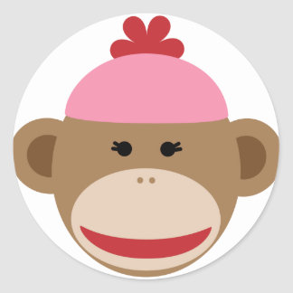 girl sock monkey stickers