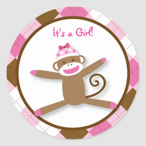 Girl Sock Monkey Stickers Envelope Seals