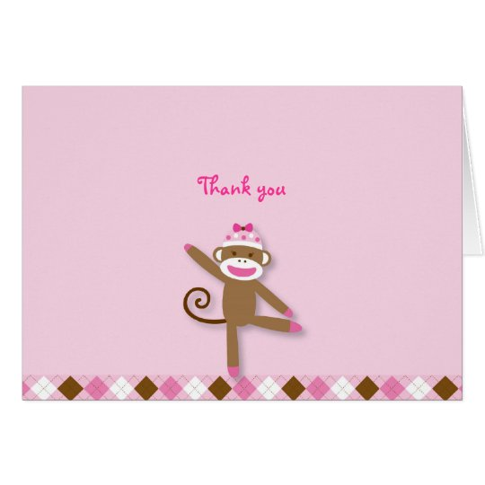 Girl Sock Monkey Thank You Note Cards