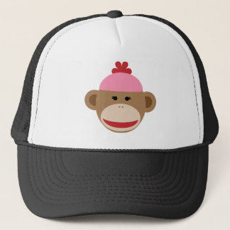 girl sock monkey trucker hat