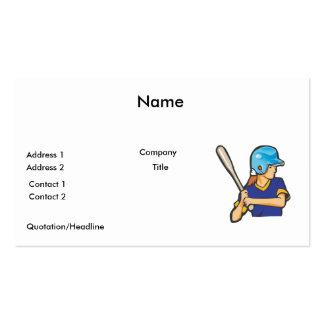 girl softball baseball player graphic business card