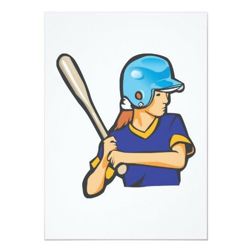girl softball baseball player graphic 5x7 paper invitation card