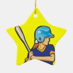 girl softball baseball player graphic christmas ornament