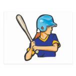 girl softball baseball player graphic postcard