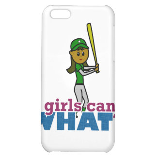 Girl Softball Player in Green Cover For iPhone 5C