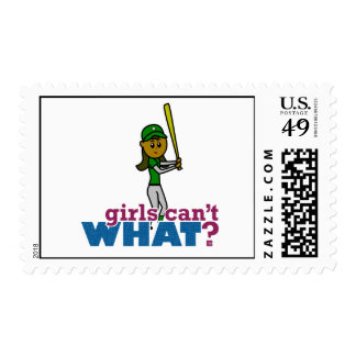 Girl Softball Player in Green Stamps