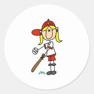 Girl Softball Player Sticker