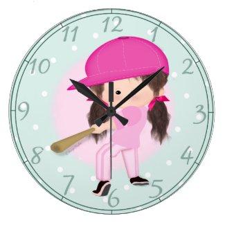 Girl Softball Sports Clock