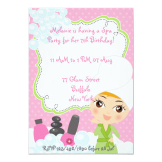 "Girl Spa Birthday Party invitation 5"" X 7"" Invitation Card"