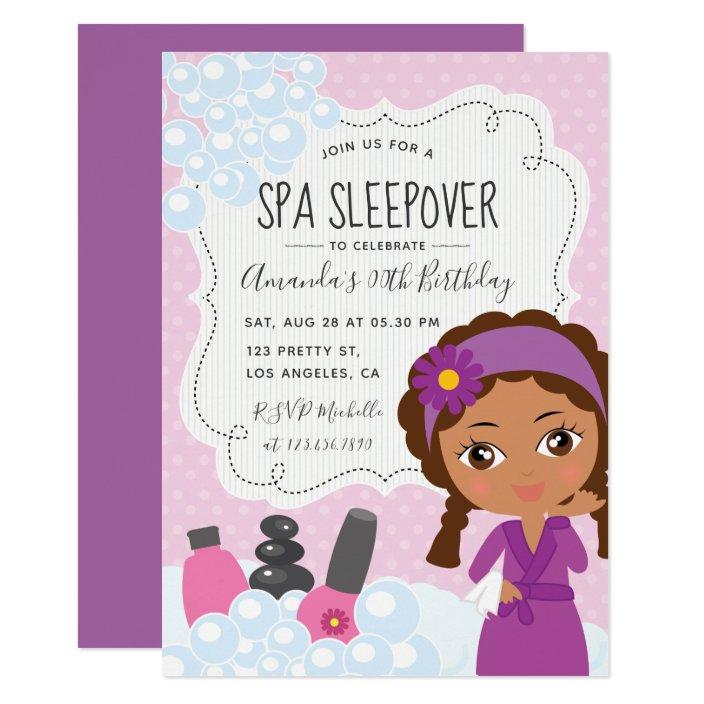 Spa Sleepover Birthday Party Invitation