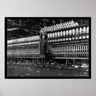 Girl Spinner in a Cotton Mill in Roanoke, VA 1911 Poster