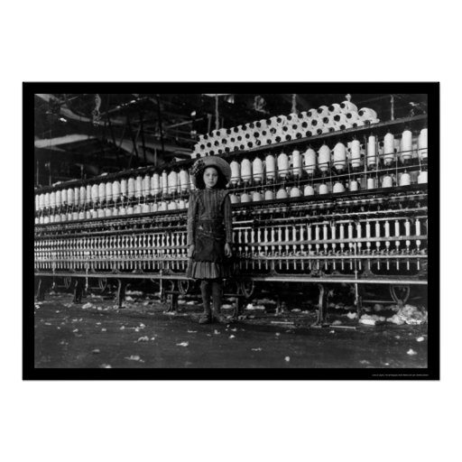 Girl Spinner in a Cotton Mill in Roanoke, VA 1911 Posters