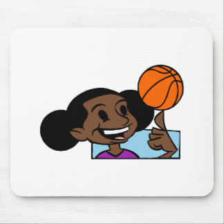 Girl spinning ball mouse pad