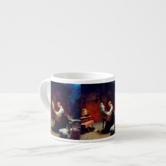 Girl Spinning Wool Espresso Cup