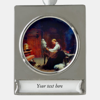 Girl Spinning Wool Silver Plated Banner Ornament