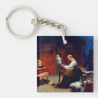 Girl Spinning Wool Single-Sided Square Acrylic Keychain