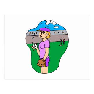 Girl spitting pitcher postcard