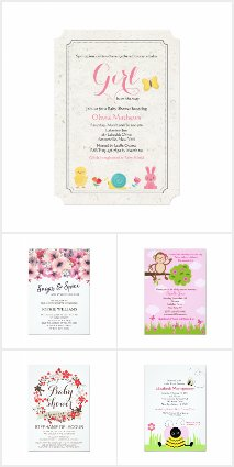 Girl Spring Baby Shower Invitations