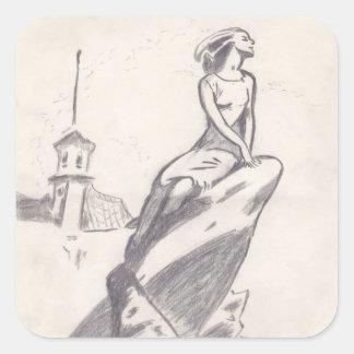 Girl Square Sticker