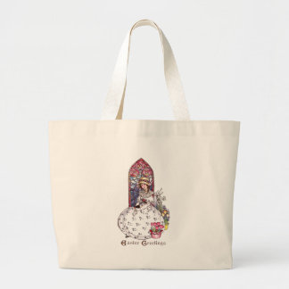 Girl, Stained Glass Window, Tulips Vintage Easter Canvas Bag