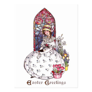 Girl, Stained Glass Window, Tulips Vintage Easter Postcard
