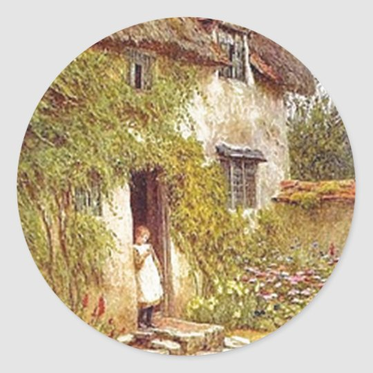 Girl Standing in Doorway of Vintage Country Cottag Classic Round Sticker