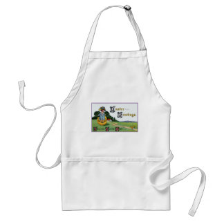 Girl Standing in Eggshell Vintage Easter Adult Apron