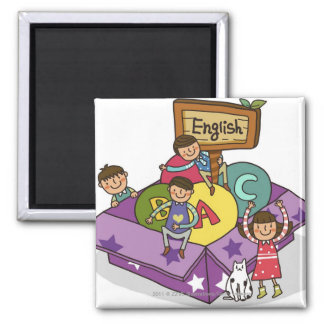 Girl standing with arms raised and boys sitting 2 inch square magnet