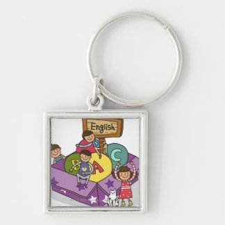 Girl standing with arms raised and boys sitting key chain