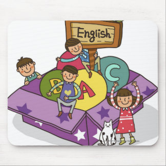 Girl standing with arms raised and boys sitting mouse pad