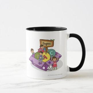 Girl standing with arms raised and boys sitting mug