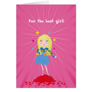 Girl- star of love standing on rose petals card