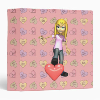 girl stepping on heart 3 ring binder