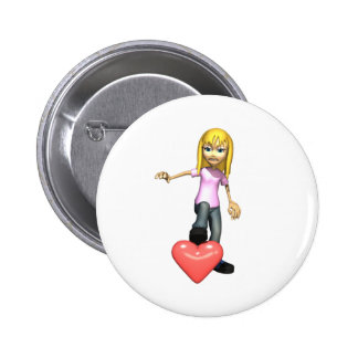 girl stepping on heart button